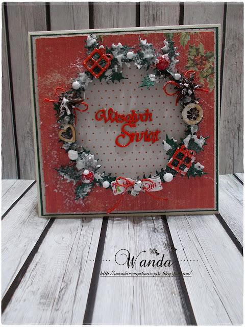 Kartka ze świątecznym wiankiem