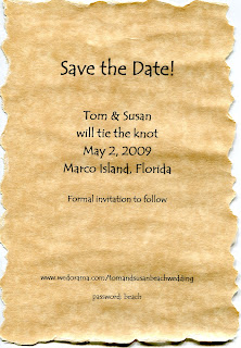 Torn parchment paper save the date notice