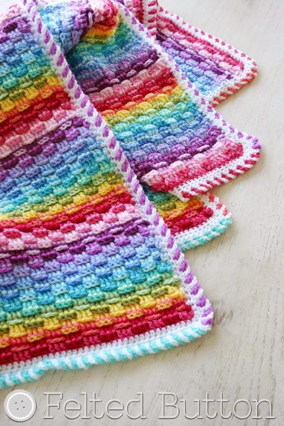 Basket of Rainbows Blanket (crochet pattern by Susan Carlson of Felted Button)