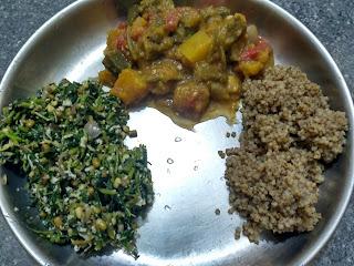 Boiled Kodo millet rice, Amaranth greens green gram sprouts poriyal,  Pumpkin Ladies finger Life Natural sambhar
