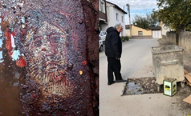 Roman-era mosaic left underneath dumpster in Turkey