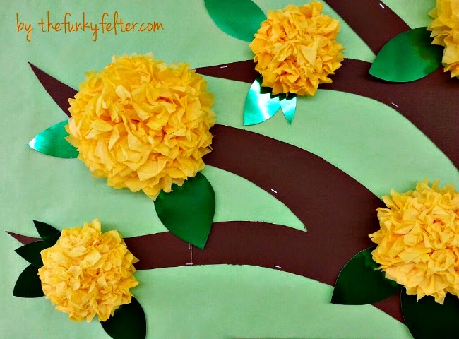 fruit of the spirit verse bulletin board with tissue paper flowers craft