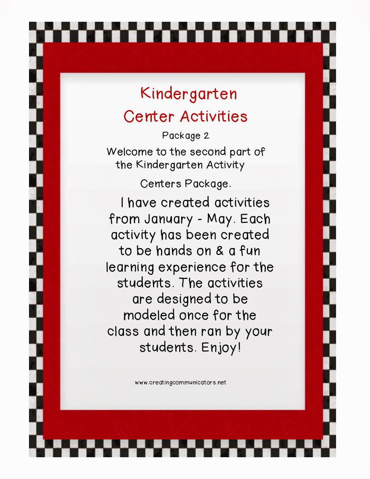 Creating Communicators Kindergarten Activity Centers
