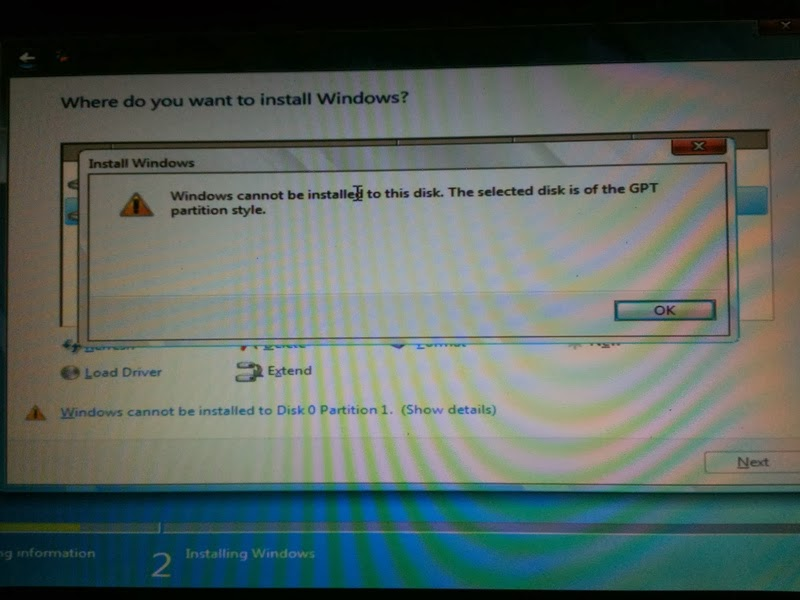 window cannot be installed to this disk the selected disk is of the GPT partition style