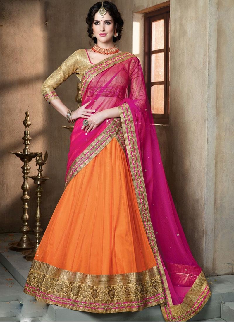 lehenga saree bridal designs designer choli orange sarees engagement pink colour blouse latest indian quotes silk sari wear styles come