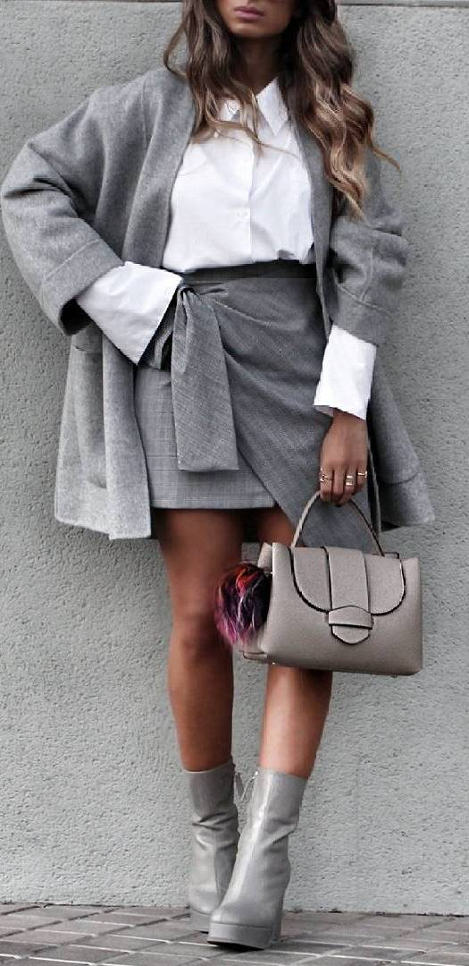 grey and white office outfit idea