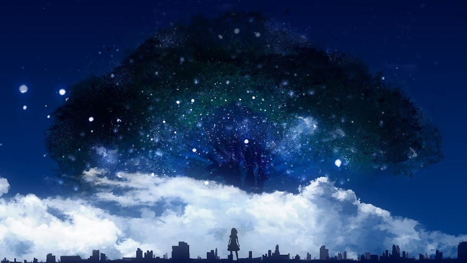 Night, Trees, Nature, Scenery, Anime, 4K, #120