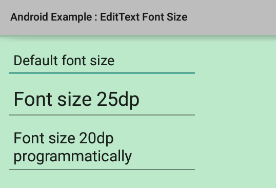 How to change EditText font size in Android