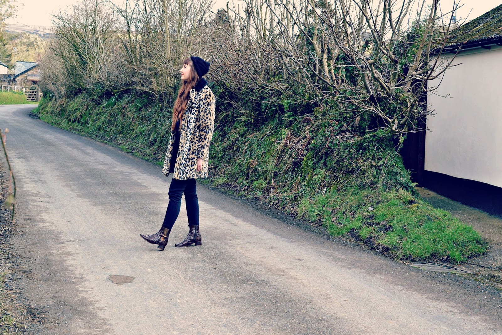 fashion blogger, topshop leopard print coat , whistles trousers, finery boots