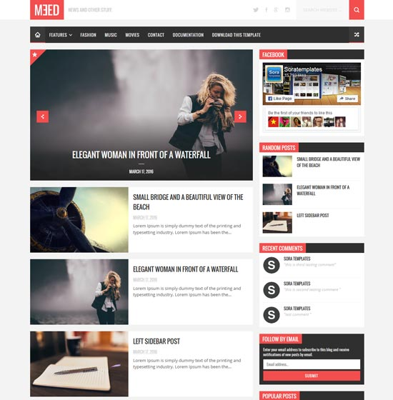 MEED Responsive blog website templates || Cool Templates For Blogger ...