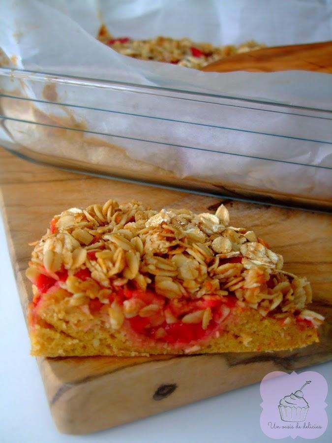 Crumble de almendras, fresas y frambuesas, fit, fitness, receta de cocina, recetas