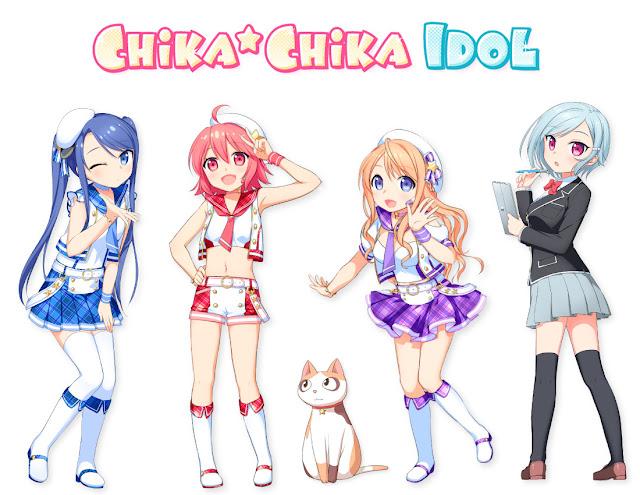 Cztery idolki z anime Chika Chika Idol