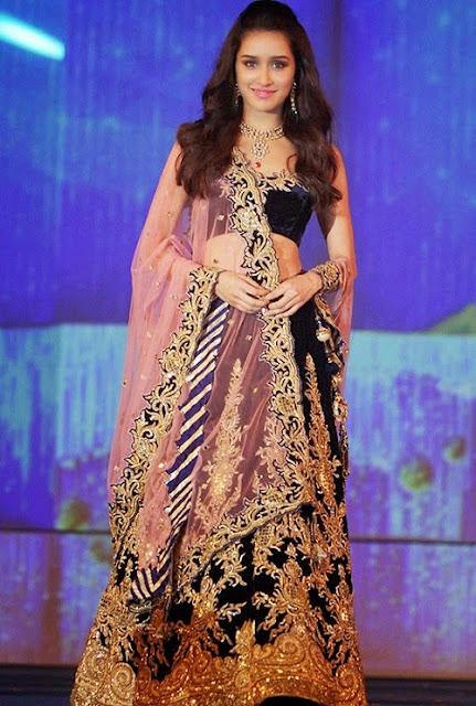 Shraddha Kapoor Blue & Pink Velvet Designer Lehenga Choli