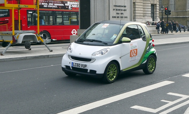 Electric Smart car on Whitehall