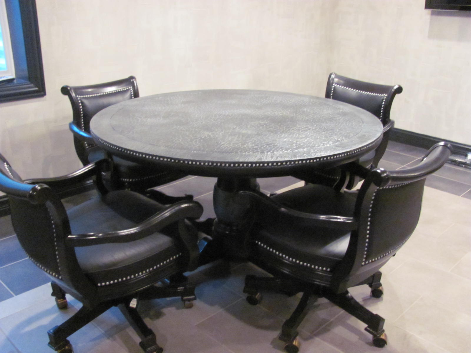 Poker Chairs With Casters Swivel Papasan Chair Chicpaint Embracing Gray