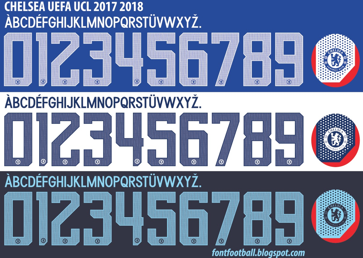 FONT FOOTBALL: FIXED/UPDATED Font Vector Chelsea UCL UEFA
