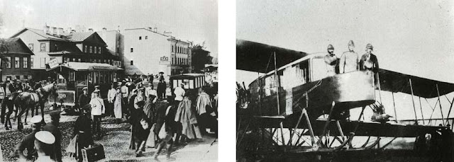 "Left: Street scene. Right: Ukrainian/Russian aviators Igor Sikorsky,Genner, Kaulbars in the airplane ""Russian Vityaz"", 1915"