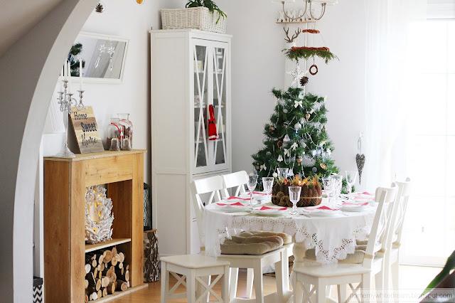 stół wigilijny, dekoracje świąteczne, choinka 2017, Atrapa kominka DIY,