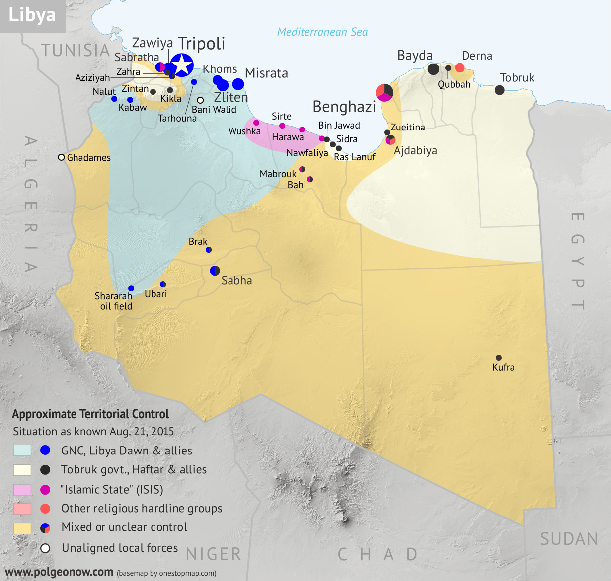 Libya control relief map: Shows detailed territorial control in Libya's civil war as of August 2015, including all major parties (Tobruk government, General Haftar's Operation Dignity forces, and Zintan militias; Tripoli GNC government, Libya Dawn, and Libya Shield Force; Shura Council of Benghazi Revolutionaries and other hardline Islamist groups; and the so-called Islamic State). Also file under: Map of Islamic State (ISIS) control in Libya.