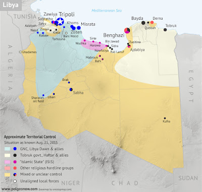 Libya control relief map: Shows detailed territorial control in Libya's civil war as of August 2015, including all major parties (Tobruk government, General Haftar's Operation Dignity forces, and Zintan militias; Tripoli GNC government, Libya Dawn, and Libya Shield Force; Shura Council of Benghazi Revolutionaries and other hardline Islamist groups; and the so-called Islamic State (ISIL)). Also file under: Map of Islamic State (ISIS) control in Libya.