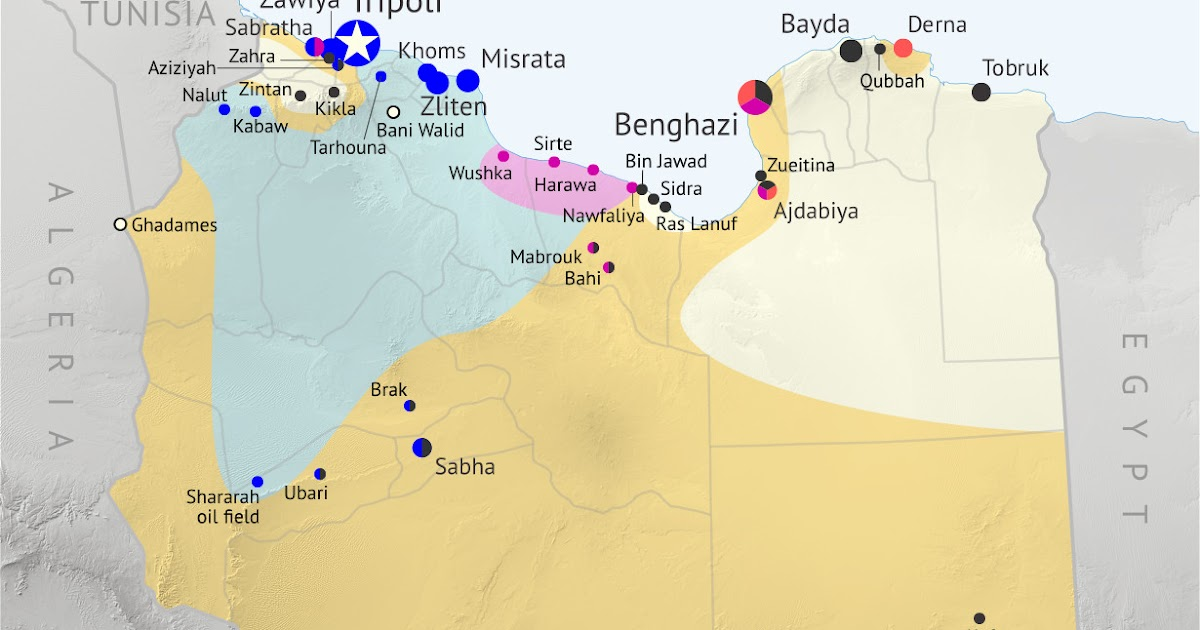War in Libya Map of Control in August 2015 Political Geography Now