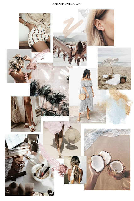 moodboard summer vibes, summer visual board