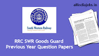 RRC SWR Goods Guard Previous Year Question Papers