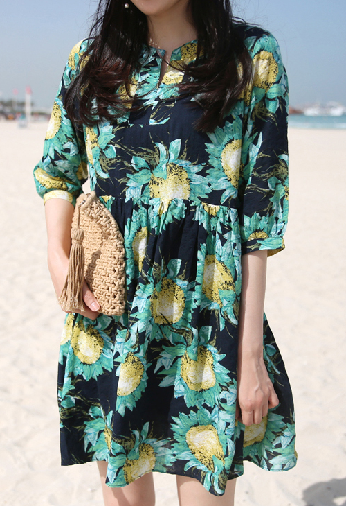 Empire Waist Sunflower Print Dress