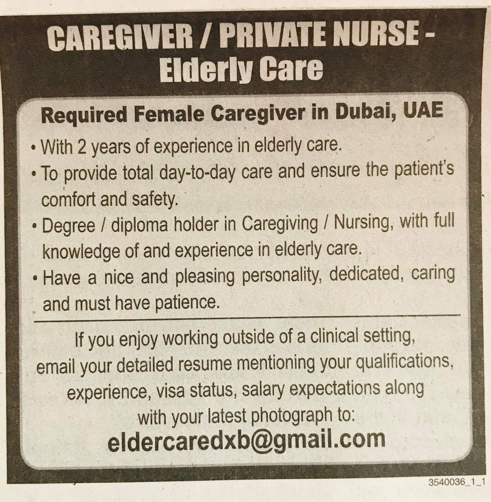Required Caregiver/private nurse for UAE JOBS Local Hiring Khaleej