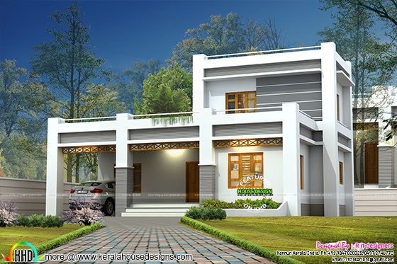 1858 square feet flat roof style house