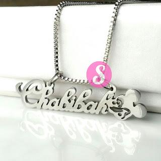kalung nama monel silver polos - chabibah