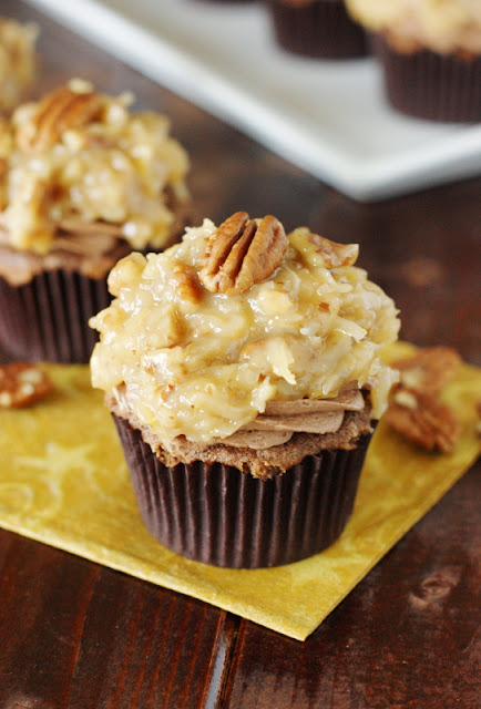 chocolate cupcakes topped amongst creamy chocolate frosting together with the always High German Chocolate Cupcakes