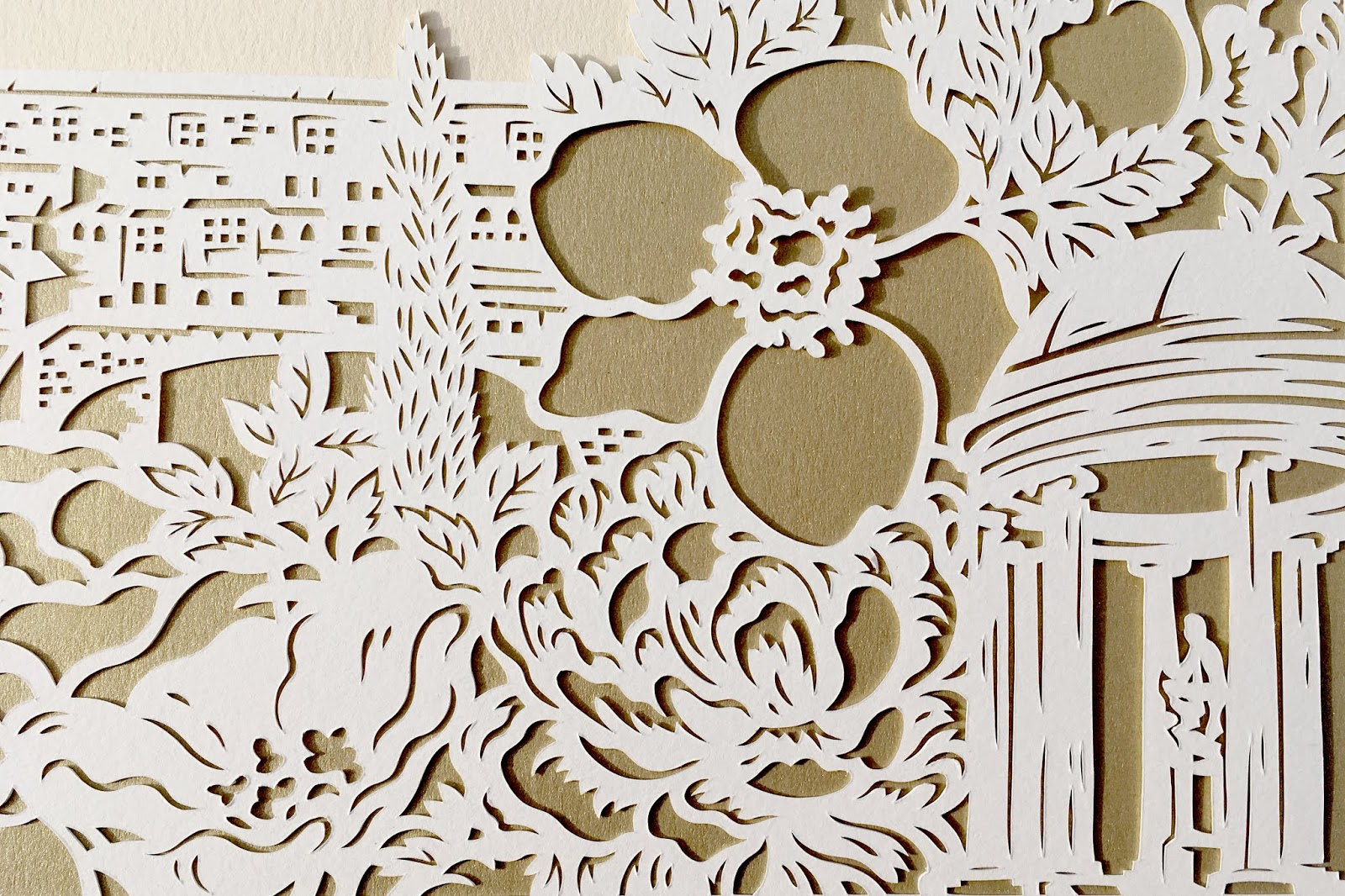 Handmade custom papercut gift for destination wedding to Florence, Italy. By Woodland Papercuts by Naomi Shiek.