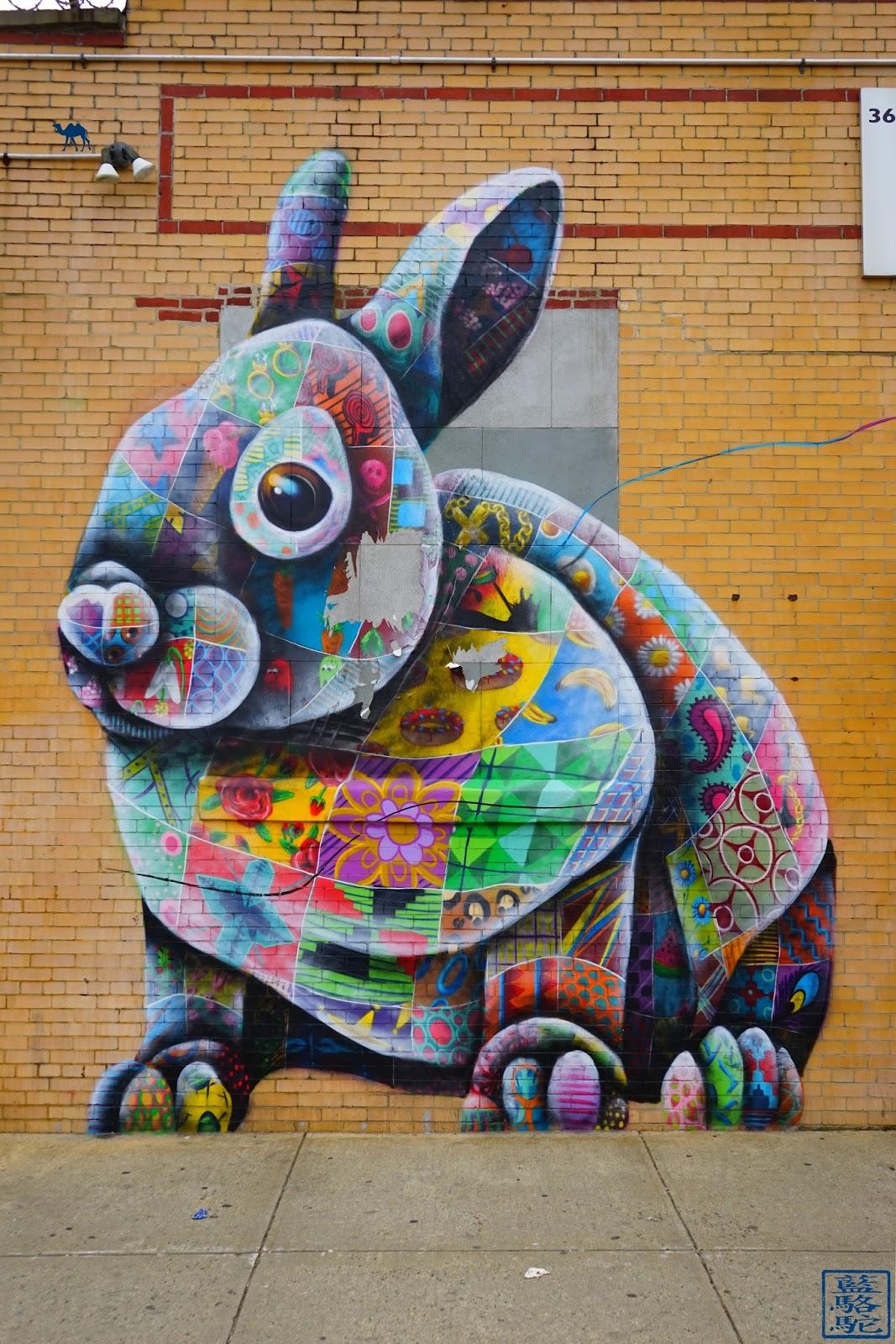 Le Chameau Bleu - Street Art Bushwick 2017 - Lapinou