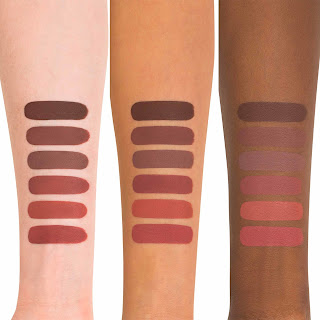 Kat Von D Liquid Lipstick Double Dare Swatch on light, medium, and dark skin