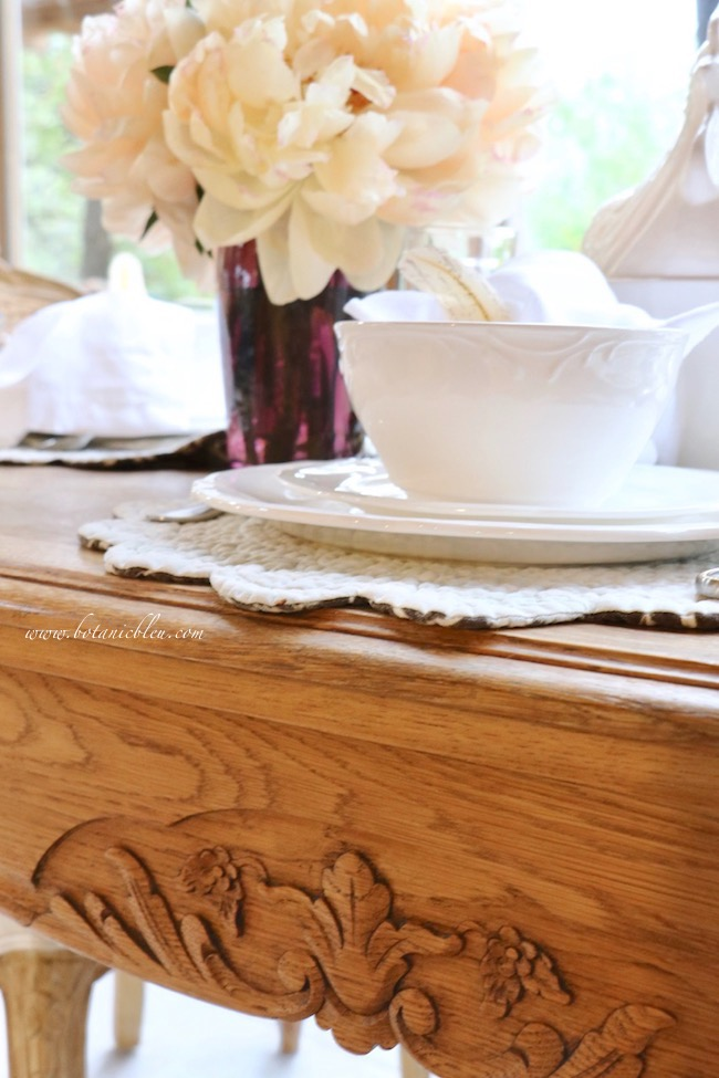 French Country Thanksgiving wood carved vintage French table