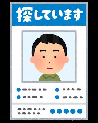 行方不明者のポスターのイラスト(男性)