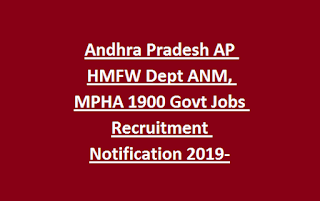 Andhra Pradesh AP HMFW Dept ANM, MPHA 1900 Govt Jobs Recruitment Notification 2019-Application Form