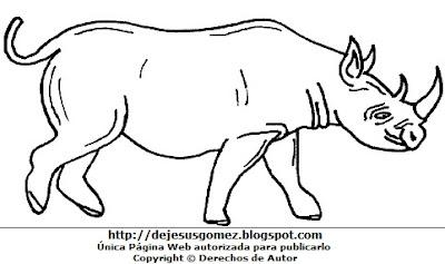 Dibujo del Rinoceronte para colorear pintar imprimir hecho para niños por Jesus Gómez