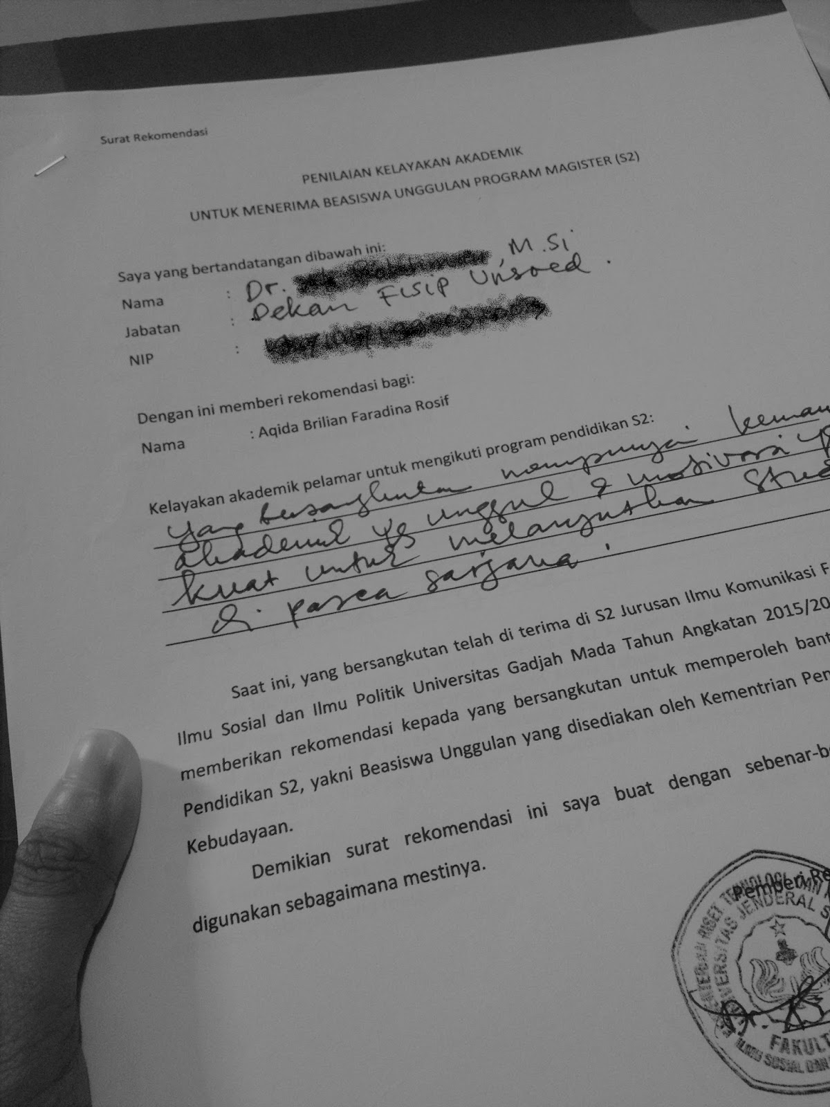 faradina contoh surat rekomendasi untuk melamar s2 dan beasiswa