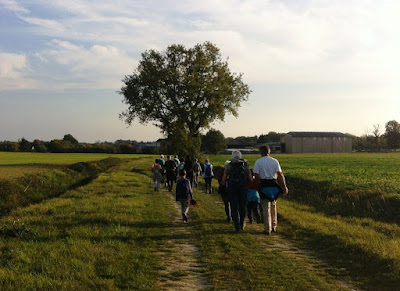 walking in open countryside near the village of Charnizay