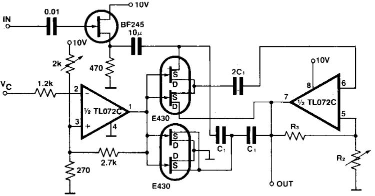 Simple Programmable Bandpass using twin-t bridge