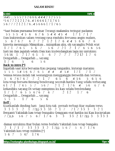 Not Angka Lagu Tipe-X Salam Rindu