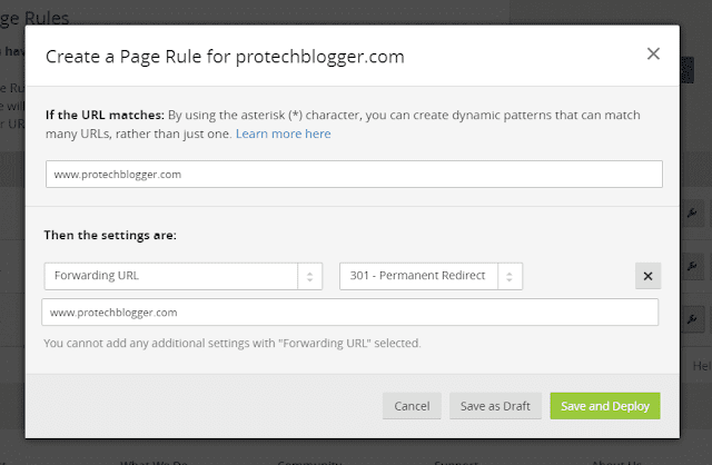 how to create a page rule for blogger custom domain name in cloudfare.