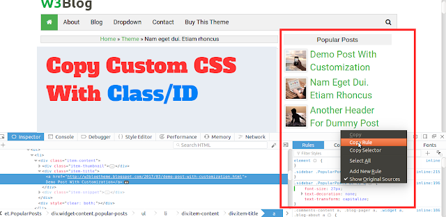 Copy the customize CSS to paste Blogger HTML
