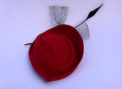 Millinery refashion red felt