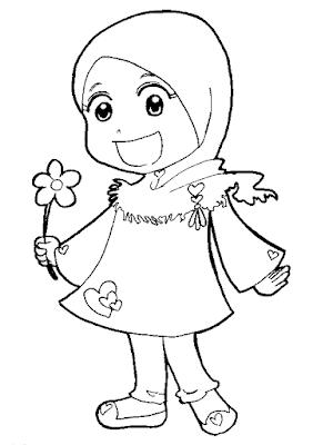 Gambar untuk mewarnai anak muslim - 7