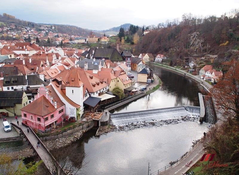 vltava river view from cesky krumlov castle
