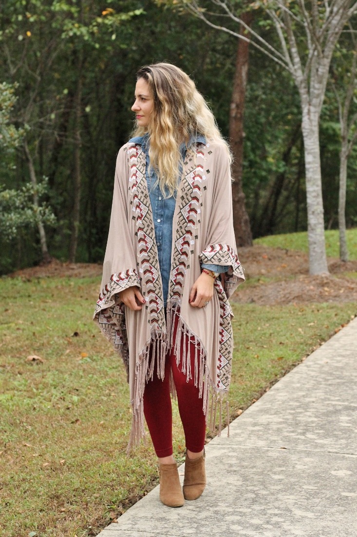 garnet leggings and poncho