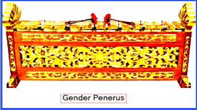 Gender Penerus. (bentuk lebih kecil daripada gender Barung) Nada-nada Gender Penerus adalah dari nada 6 (nem sedang) sampai nada 3 (tiga titik atas dua).